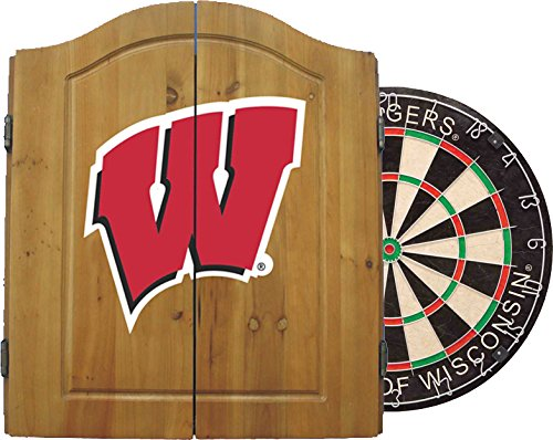 Imperial Officially Licensed NCAA Merchandise: Dart Cabinet Set with Steel Tip Bristle Dartboard, Wisconsin Badgers
