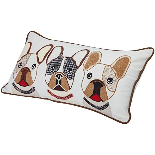 "Blueberry Pet Home 2 Patterns 100% Cotton Indoor/Outdoor Rectangular Decorative Cushion Throw Pillow with Insert and Case for Couch, 23.5"" x 12"", The French Bulldog Embroidered Designer Toss Pillow"