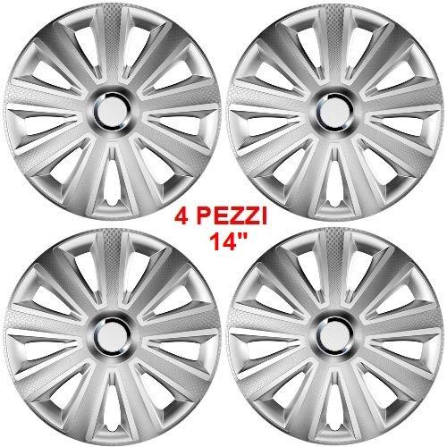 Wieldoppen met diameter 14 inch, 4 stuks gelakt met ABS-materiaal, gemakkelijk te monteren, kleur zilver effect universele montage