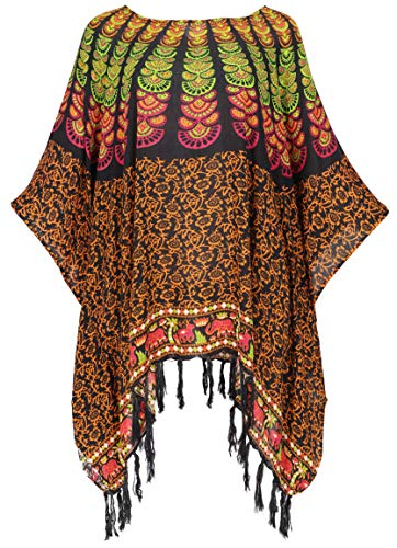 Guru-Shop Kaftan, Ibiza-StyleTunika, bluzka, damska bluzka maxi, tunika plażowa, biała, syntetyczna, rozmiar: jeden rozmiar, bluzki i tunika alternatywna odzież