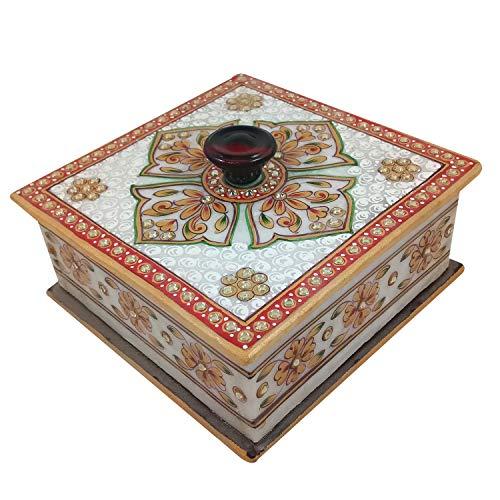 Marble Meenakari Dry Fruit & Jewelry Box Handicraft | Made by Indian Rural Artisan