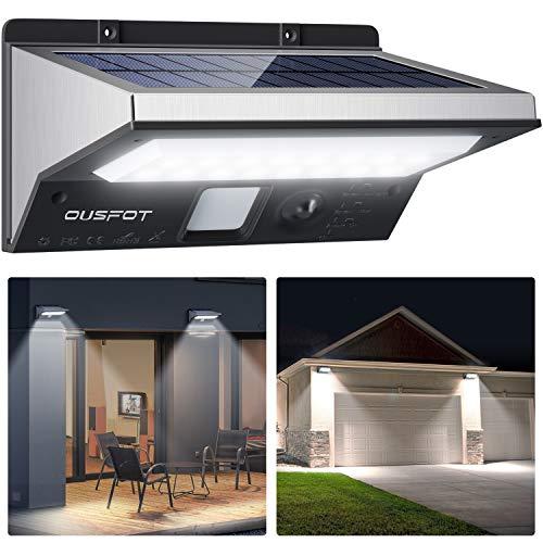 OUSFOT Solarlampen für Außen mit Bewegungsmelder 2200mAh 3 Modi Solarleuchten für Außen Wasserdichte Edelstahl Verpackung MEHRWEG