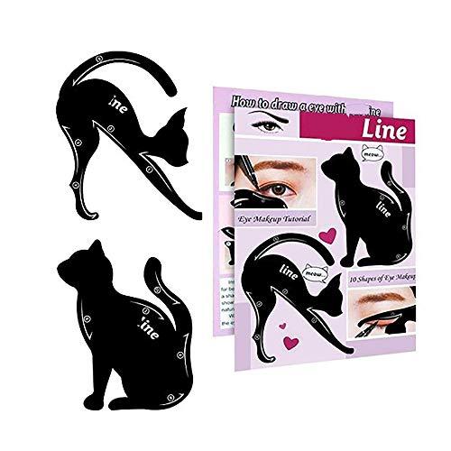 2 in 1 Cat Eyeliner Stencil Smoky Eyeshadow Applicators Eyeliner Template Plate Matte PVC Material Professional Multifunction Black Cat Shape Eye liner & Eye Shadow Guide Template  (1pack)