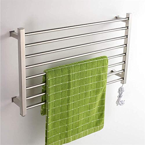 Toallero Eléctrico Calentador de toalla eléctrica, montaje en pared 8 barra de toalla con cableado eléctrico calentador de toalla de baño caliente Toalla de tela montada en la pared Rack de secado