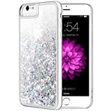 iPhone 6 6S 7 8 Case, Caka iPhone 6S Glitter Case with Tempered Glass Screen Protector Bling Flowing Floating Luxury Glitter Sparkle Soft TPU Liquid Case for iPhone 6 6S 7 8 (4.7 inch) (Silver)