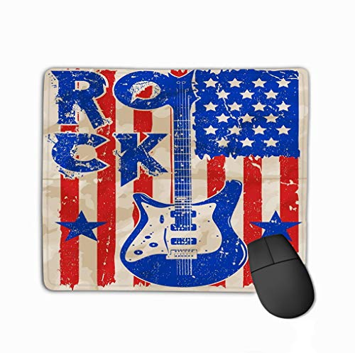 Custom Mouse Pad,11.81 X 9.84 Inch Unique Printed Mouse Mat Design Rock Poster Vintage Rock roll Typographic Rock Poster Vintage Rock roll Typographic Design