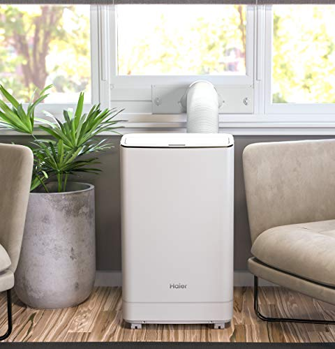 Haier WiFi Connect Smart Portable Air Conditioner with Dehumidifier for Large Rooms up to 550 sq ft, 13,500 (9,700 BTU SACC), White