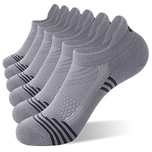 CelerSport Ankle Athletic Running Socks Low Cut Tab Sport Socks for Men and Women, Grey, Medium(6 Pair Pack)
