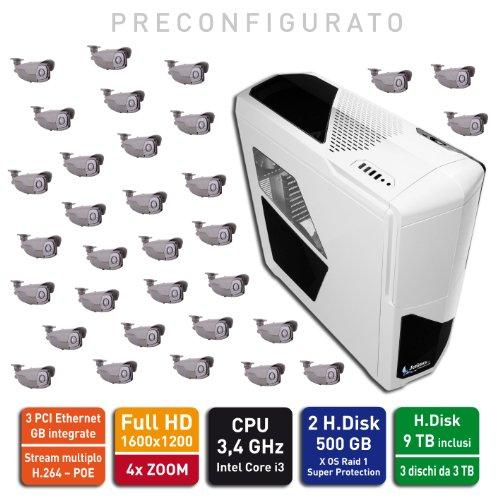 Jenimex Kit Videosorveglianza IP HD: TOP NVR + 32 Telecamere IP 2 MP 1600x1200 - Preconfigurato Plug&Play - Raid 0,1,5, 10 - Inclusi 10 TB