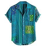 Camisa Hawaiana Hombre Manga Corta Estampadas Cuello de Solapa Camisas Hombres Casual Verano Tallas Grandes Tops Blusa Originales de Vestir 2021 Shirt Algodon Barata