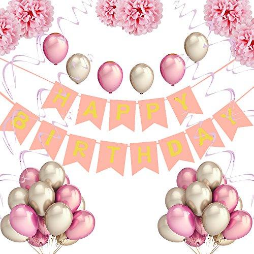 PushingBest Geburtstagsdeko, Rosa Geburtstag Dekoration, Rosa und Weiße Latexballons, Rosa Strudel, Papierpompons und Happy Birthday Banner