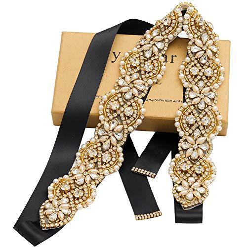 Yanstar Wedding Belt Rhinestone Crystal Pearl Belts Wedding Bridal Belts Bridal Sashes