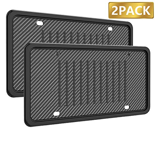 License Plate Frames Silicone License Plate Holder, Rust-Proof Rattle-Proof Weather-Proof with 3 Drainage Holes Black Silicone License Plate Frame Cover (2 Pack)