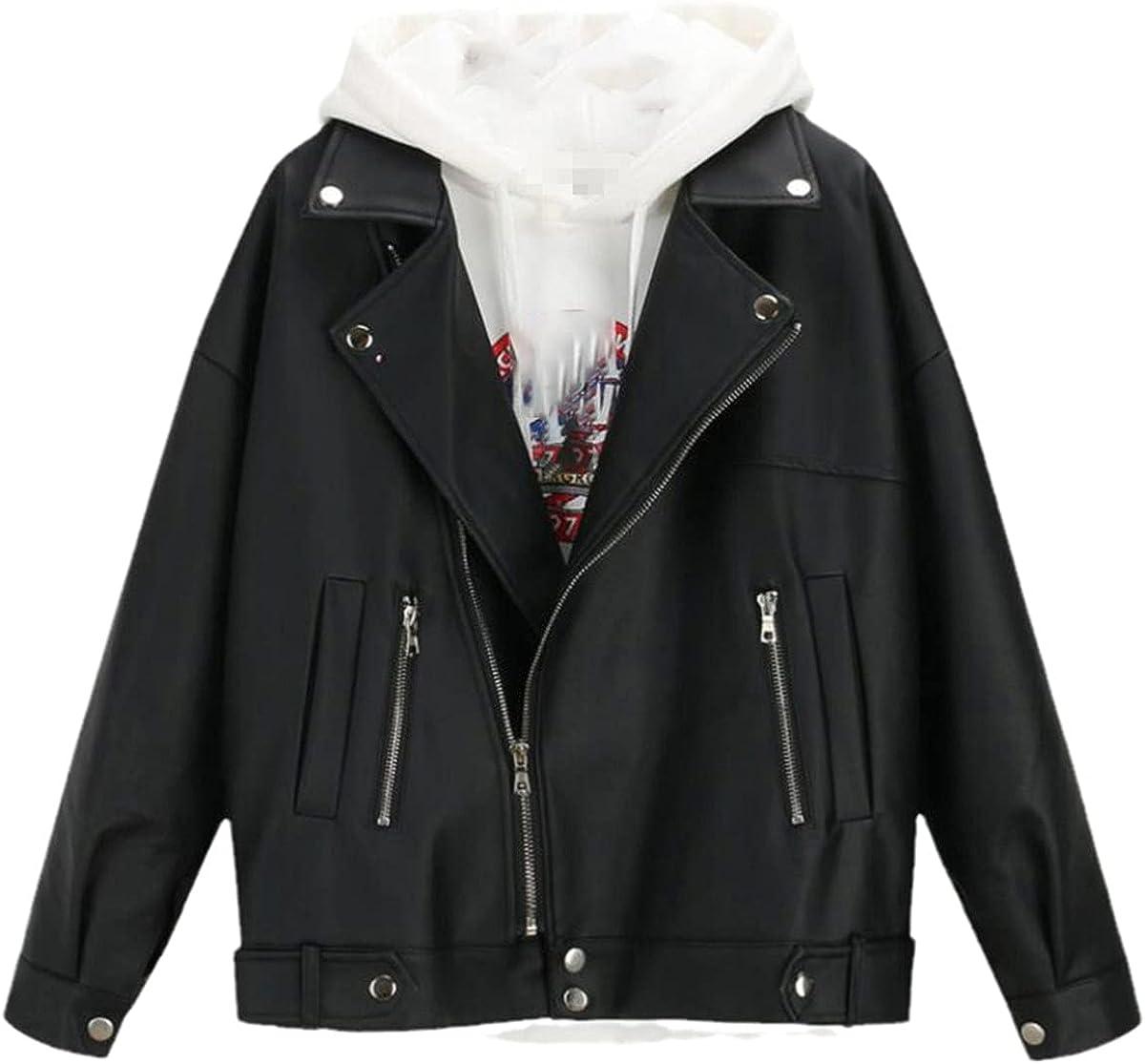 Women's autumn and winter leather jacket oversized boyfriend style Korean jacket black motorcycle jacket
