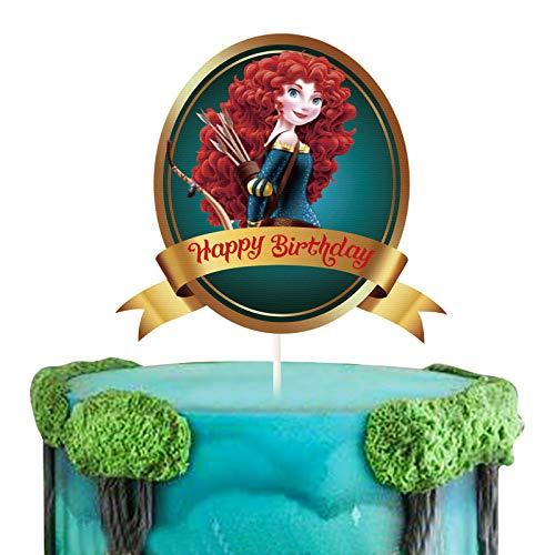 LYNHEVA Glitter Merida Happy Birthday Cake Topper, Brave Theme Birthday Party Suppliers, Disney Princess Merida Inspired Cake Decoration, Princess Party Favor