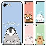 スマホケース ラウンド クアッカワラビー レッサーパンダ ミニブタ ビションフリーゼ ペンギンのヒナ iphone6 iphone6s