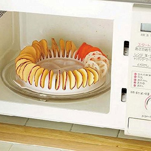 Xiaolanwelc@ Microwave Potato Chip Maker Chips Rack Tray DIY Baking Pan Oven Potato Machine Kitchen Gadget