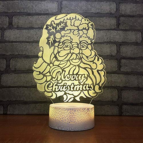 Santa Claus Creative Gift Led Table 3D Lamp Colorful 3D Night Light Decorations Gift for Baby Room Lights