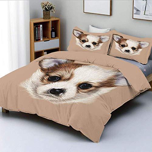 Juego de funda nórdica, retrato de cachorro, lindo y pequeño amigo peludo, perro, mascota, arte gráfico, juego de cama decorativo de 3 piezas con 2 fundas de almohada, caramelo claro gris pardo cálido