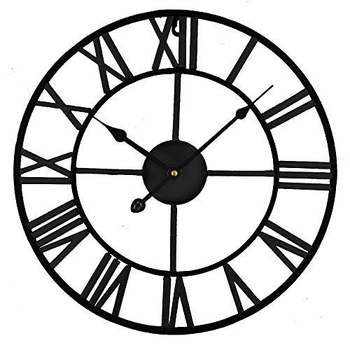 Timelike Große Metall Wanduhr - Vintage Europäische Industrie Lautlose Wanduhr mit R?mischen Ziffern, Wanduhr Für Dekor Wanduhr für Zuhause, Loft, Wohnzimmer, Schlafzimmer, Café (schwarz)