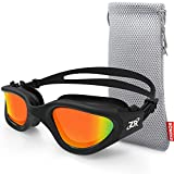 ZIONOR Swim Goggles, G1 Polarized Swimming Goggles UV Protection Leakproof Anti-Fog Adjustable Strap for Adult Men Women (Polarized Red Lens Black Frame)