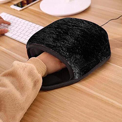 FENG USB Beheizte Mauspad mit Handgelenkstütze, Mausunterlage, Handwärmer Maus Pads, Schützen Ihre Hände vor Erfrierungen, Nette Cartoon Mauspad Winter Warm (schwarz)