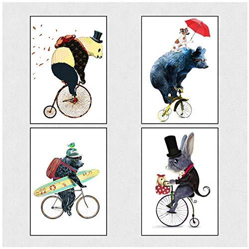 Ywsen Nordic Cartoon Dier Decoratieve Schilderij Leuke Cubs Fiets Rijden Panda Skateboard Puppy Rood Paraplu Canvas Schilderij Kwekerij (geen frame) 50x70cmx4