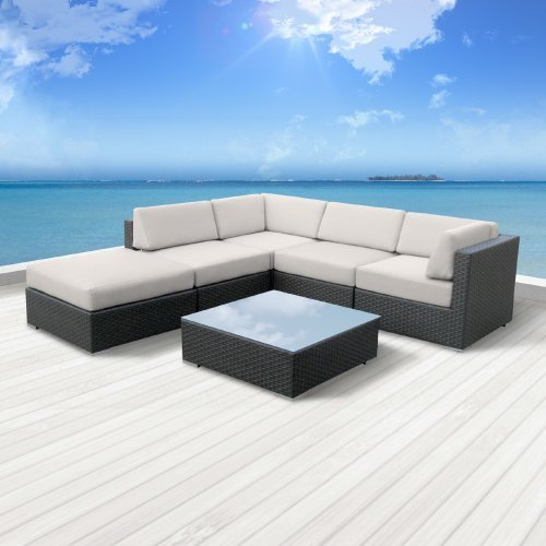 Hot Sale Luxxella Outdoor Patio Wicker BERUNI Off White Sofa Sectional Furniture 6pc All Weather Couch Set