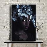 SADHAF Papillon Noir Fille Nue Art Africain Art Peinture À L'huile Affiche sur Toile et Estampe Salon Mural A2 40x50 cm