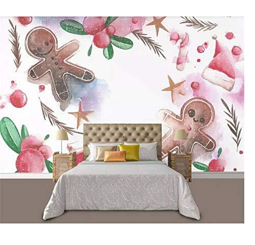 Vlies Benutzerdefinierte Wandbild 3D Fototapete Weihnachten Ingwer Süßigkeiten Mann Bild Bett Raumdekor Bild 3D Wandbild Tapete Für Wand