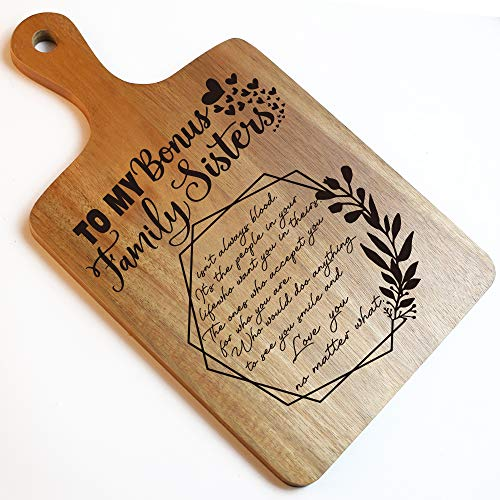 Bonus Sister Funny Engraved Cutting Board Funny Farmhouse Kitchen Gift Gift For Women Wedding Sister Bride Christmas Gifts