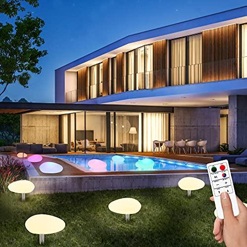 uuffoo Lámpara LED para jardín, 3 unidades IP66, resistente al agua, luz solar flotante brillante, luz nocturna, 8 colores RGB que cambian la lámpara de noche con control remoto para