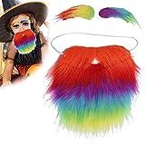 Disfraces novedosos Kit de barba de cejas falsas, colorido disfraz de simulación, barba, bigote, suministros de fiesta de Halloween, accesorio para adultos, niños
