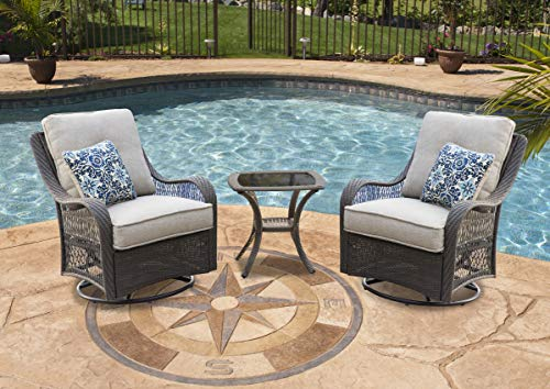 Hanover ORLEANS3PCSW-G-SLV Orleans 3 Piece Swivel Rocking Chat Set, Silver Lining Outdoor Furniture