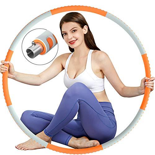 TvvaaFog Hula Reifen Hoop Fitness für Erwachsene, Stabiler Edelstahlkern mit Premium Schaumstoff, Komfortabler und Längeres Leben, 1,2 kg zum Abnehmen (Orange-Grau)