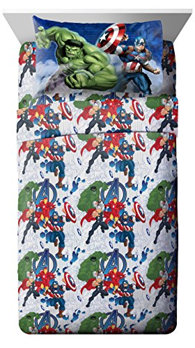 Marvel Avengers Blue Circle 4Piece Full Sheet Set