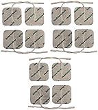 Elektroden für TENS/EMS Maschinen Set aus 12 vorverdrahtet kleinen quadratischen 4x4cm leitfähigen pads gesichert mit hochwertigen Haftgel von Healthcare World -