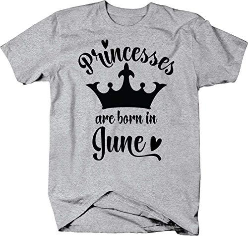 Princesses are Born in June Crown Birth Month Cursive Heart Tshirt Small Heather Grey