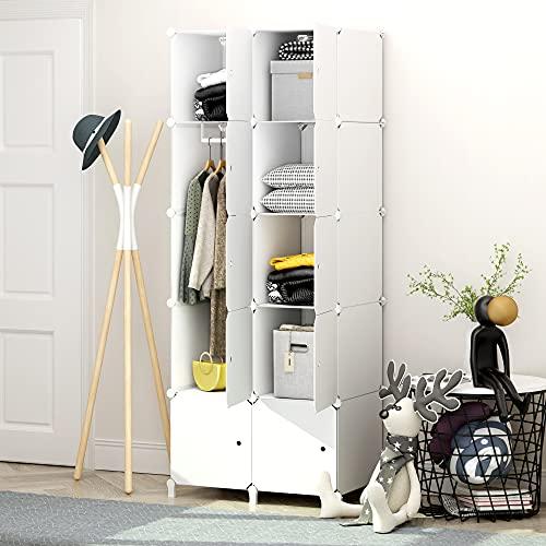 JOISCOPE, armadio modulare fai da te, armadio portatile con bastone appendiabiti, armadio combinato facile da montare, armadio in plastica, salvaspazio, camera da letto, BIANCO (10 cubi)