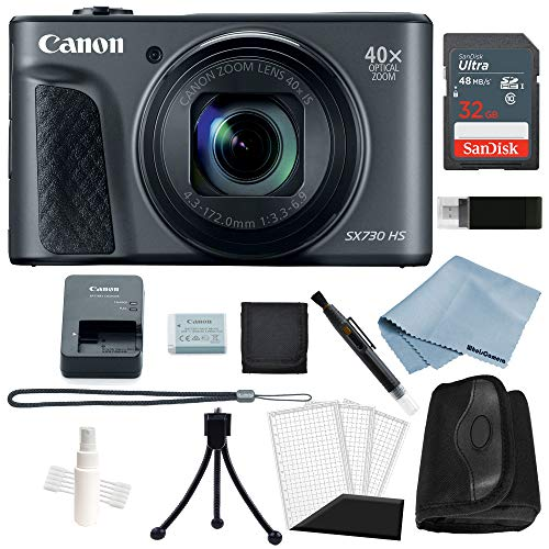 Canon Powershot SX730 HS Bundle (Black) + Basic Accessory Kit - Including to Get Started