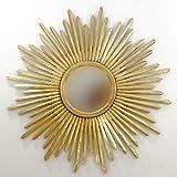 Rococo Espejo Sol Decorativo de Madera Sunblast de 120x120 en Oro (Envejecido)