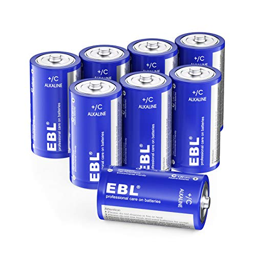 EBL C Batteries Alkaline C Batteries - Durable and Lasting Performance Alkaline Batteries for Household and Business, Toys, Remotes, Flashlights, Camping Lights, Electronic Devices (8 Battery Count)