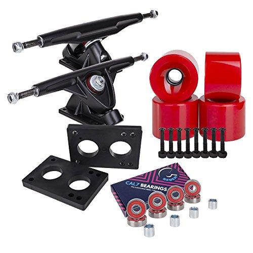 Cal 7 Longboard Skateboard Combo Package with 70mm Wheels & 180mm Lightweight Aluminum Trucks, Bearings Complete Set & Steel Hardware (Black Truck + Solid Red Wheels)