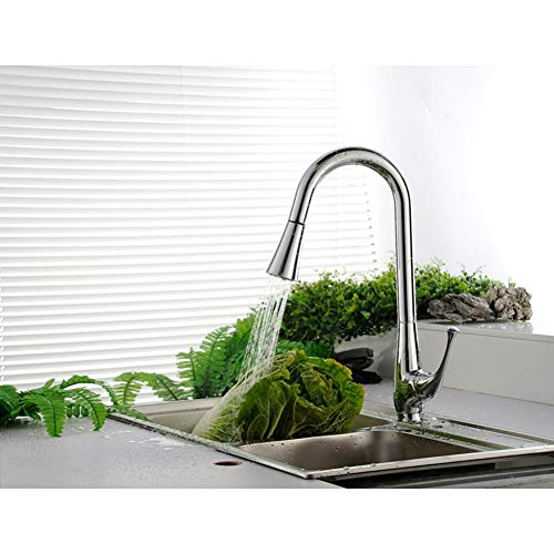 Great Features Of ZZYF Brass Single Handle High Arc Spring Pull Down Kitchen Faucet with Swivel Spou...