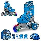 JAMBACH Kinder Inliner Inline Skates für Anfänger verstellbar Set Triskates mit Schutzset Helm Rucksack Rollschuhe Mädchen Jungen (M (34-37), blau)