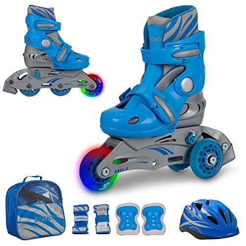 JAMBACH Kinder Inliner Inline Skates für Anfänger verstellbar Set Triskates mit Schutzset Helm Rucksack Rollschuhe Mädchen Jungen (S (30-33), blau)