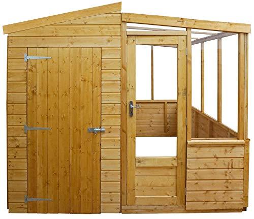 Green Planet UK - 8x8 Premium Combi kassen/schuur - FSC gecertificeerd hout, dubbele deuren, Apex dak, Styreen beglazing ramen (8x8 / 8ft x 8ft) 5-14 dagen levering