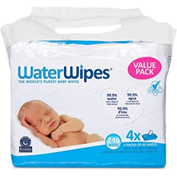 WaterWipes Unscented Baby Wipes, Sensitive and Newborn Skin, 4 Packs (240 Wipes), Multicolor
