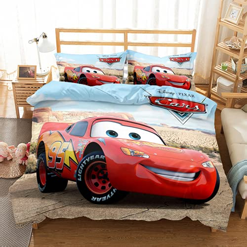 QWAS McQueen – Funda nórdica para coche, funda de edredón, ropa de cama, 100% microfibra (L1,140 x 210 cm + 50 x 75 cm x 2)