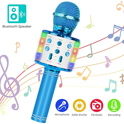 Wireless Bluetooth Karaoke Microphone, 5-in-1 Portable Handheld Mic Speaker Player Recorder with Controllable LED Lights, Adjustable Remix FM Radio for Christmas, Birthday, Home Party and More(Blue)